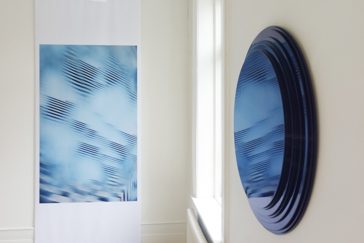 Dissolved Japan #02,art photo on textile by Christine Istad. Midnight Blue, wall sculpture by Hennie Ann Isdahl. Photo Istad Art.